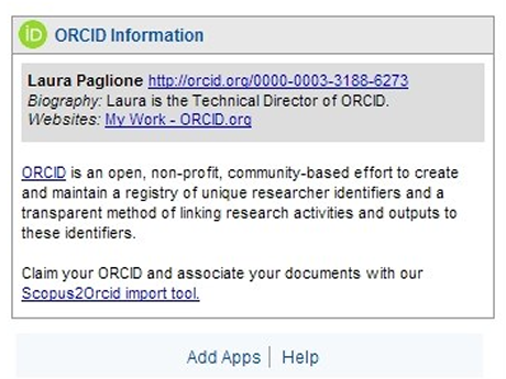 Screenshot of Orcid feature on Scopus