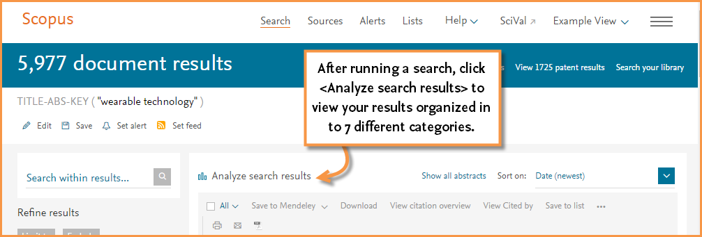 An image that points to the Analyze search results link that allows you to analyze your search results by 7 different catagories
