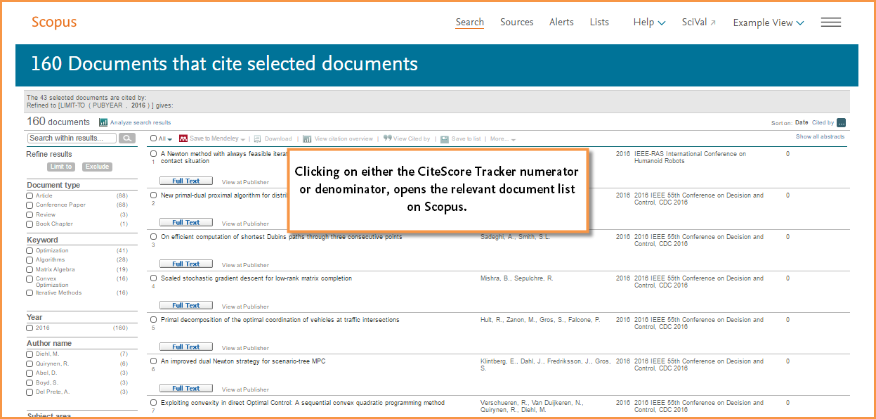 This image shows an example of the data set for the citations used in the Citation Tracker calculation. It opens in the Scopus search results page.