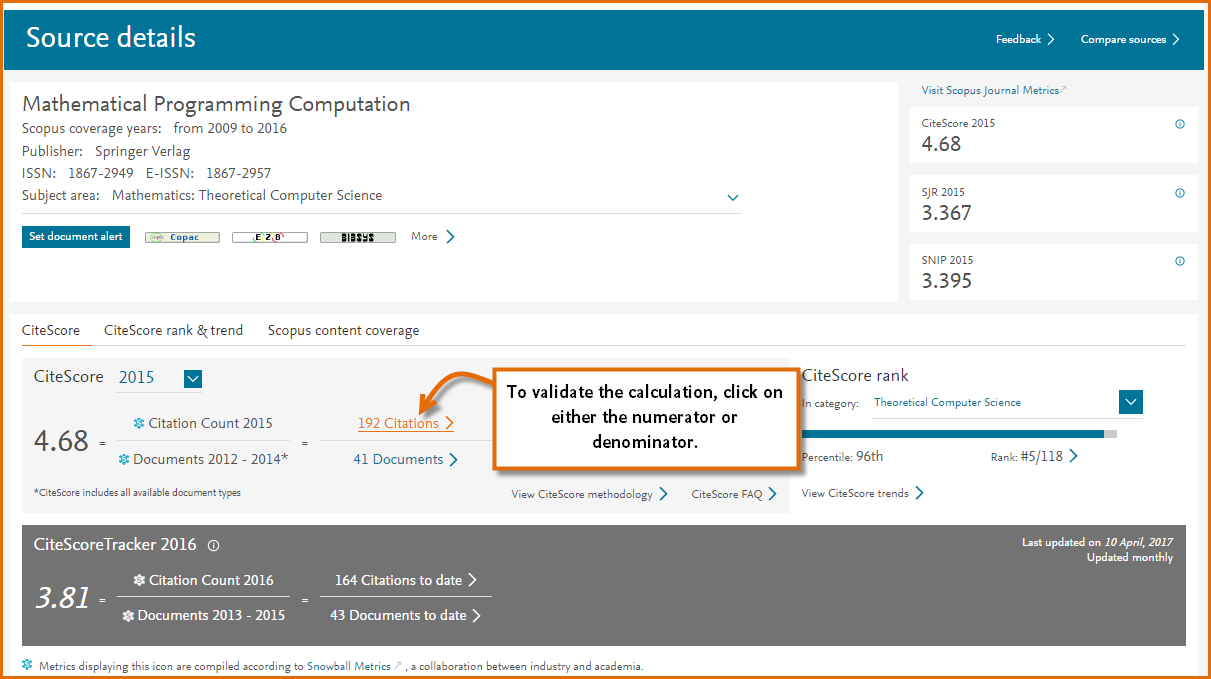 Image showing the Source browse page on Scopus for the journal Mathematical programming Computation