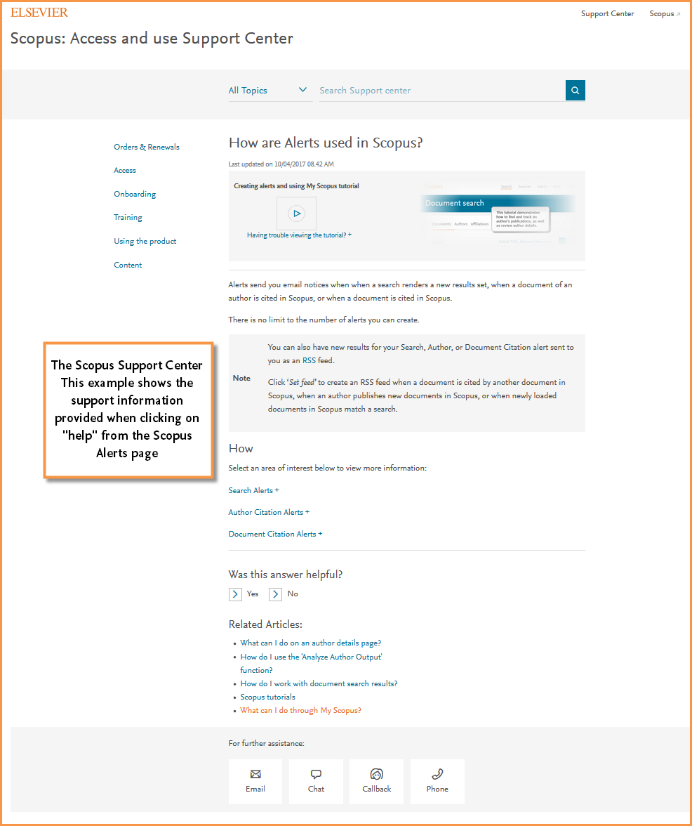 Image shows an example of how the Scopus Support Center displays when you visit the help page from the Scopus Alerts page