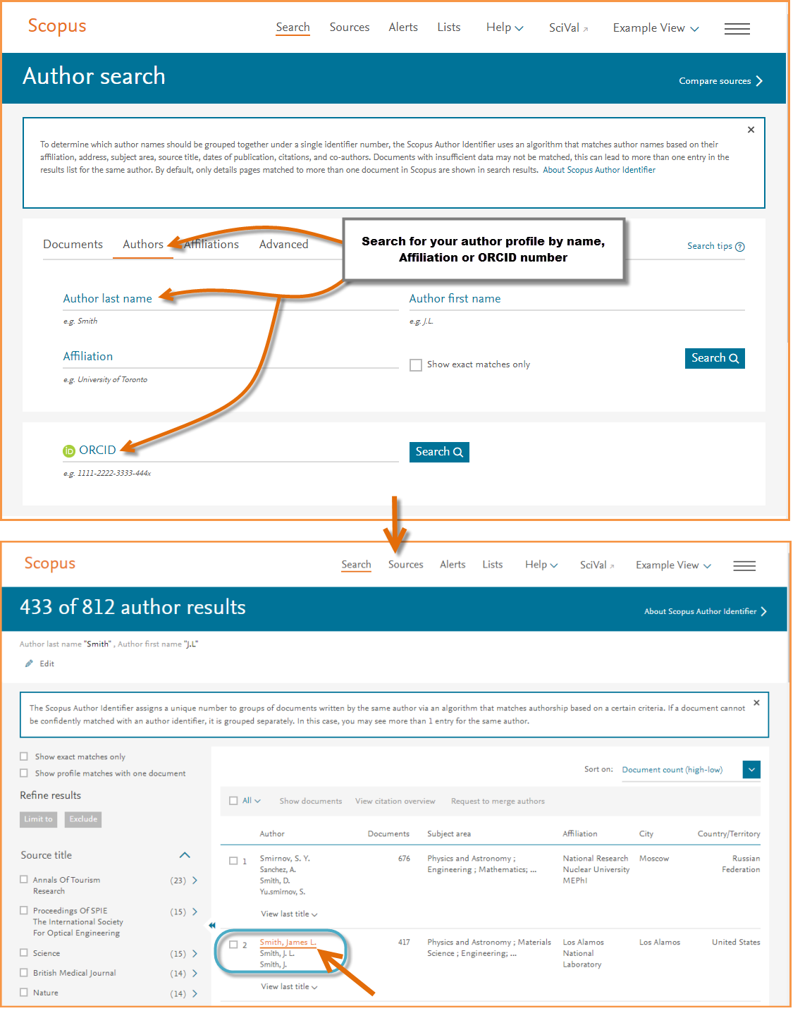 This image shows the Scopus author details page and using the documents tab to export your author bibliograph