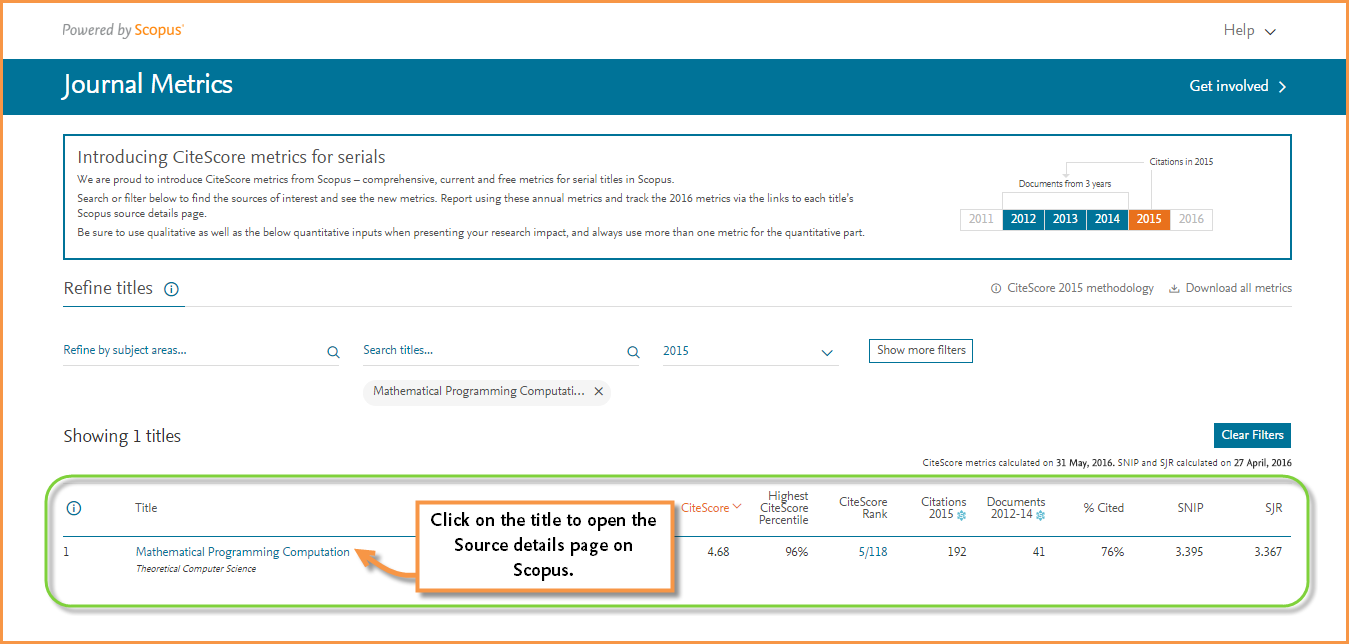 A picture showing the journalmetrics.scopus.com site, where you can search and compare journal metrics for serial titles